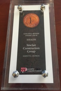 ASCC Decorative Concrete Award First Place Sinclair Construction Stealth 2